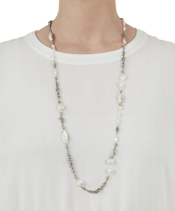 Silver Long Baroque Pearl Necklace
