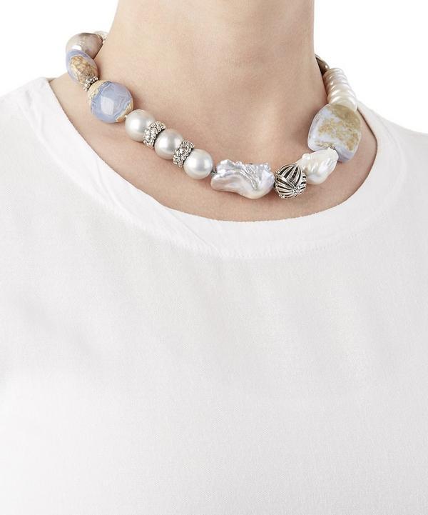 Baroque Pearl And Quartz Ball Clasp Necklace