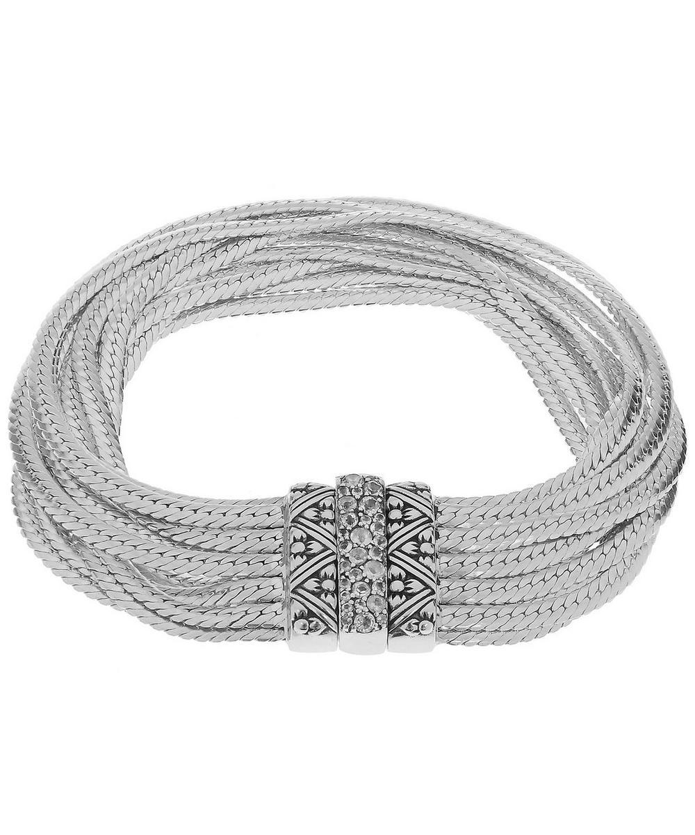 Silver and Rainbow Moonstone Multi Curb Chain Bracelet