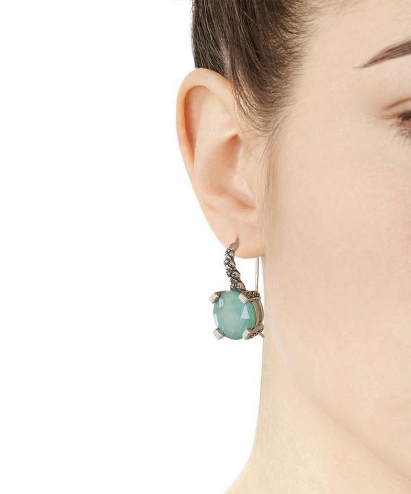 Silver Chrysophase Drop Earrings