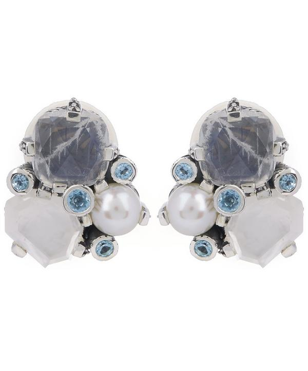 Silver Multi-Stone Cluster Clip-On Earrings