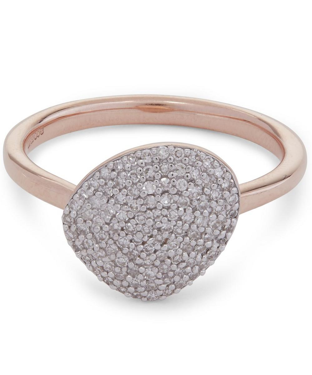 Rose Gold-Plated Nura Pebble Diamond Stacking Ring