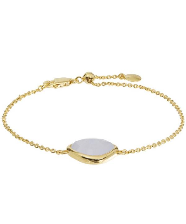 Gold-Plated Blue Lace Agate Siren Nugget Bracelet