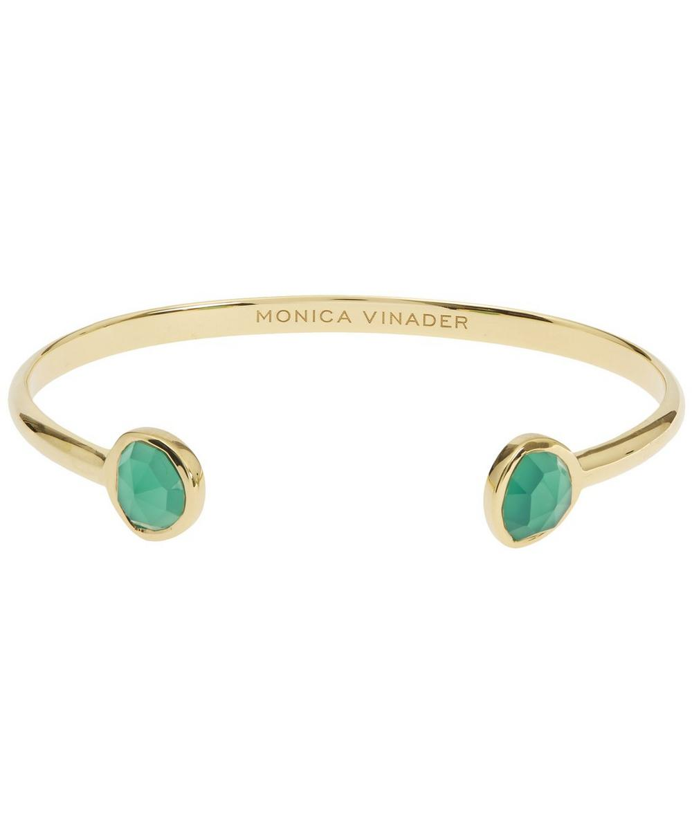 GOLD-PLATED GREEN ONYX SIREN THIN CUFF BRACELET