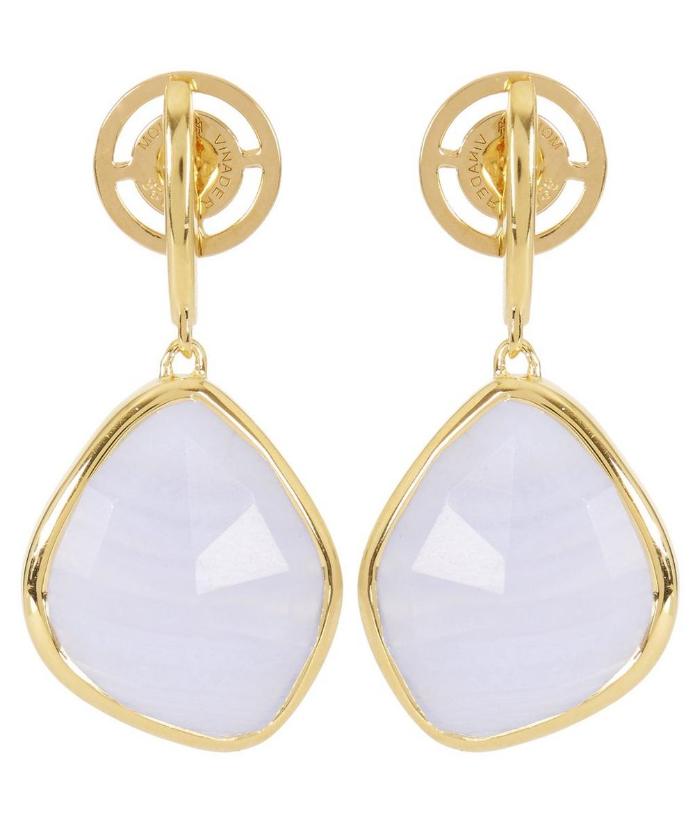 Gold-Plated Blue Lace Agate Large Siren Nugget Drop Earrings