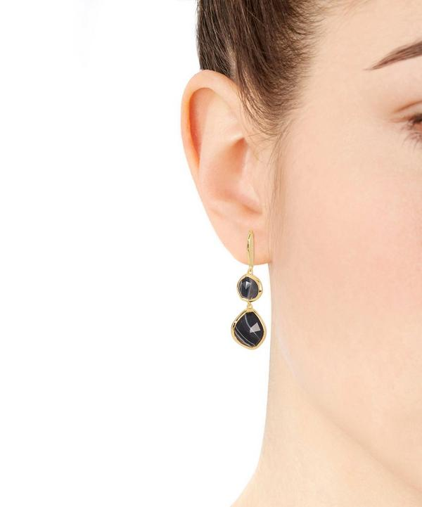 Gold-Plated Black Line Onyx Double Nugget Drop Earrings