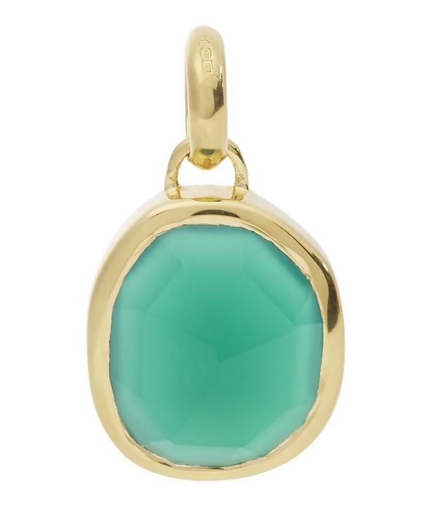 Gold-Plated Siren Green Onyx Medium Bezel Pendant