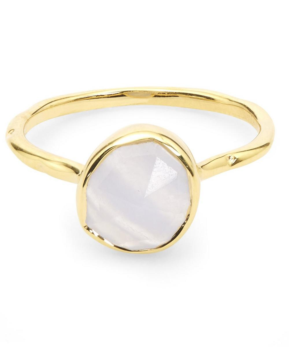 Gold-Plated Blue Lace Agate Siren Stacking Ring