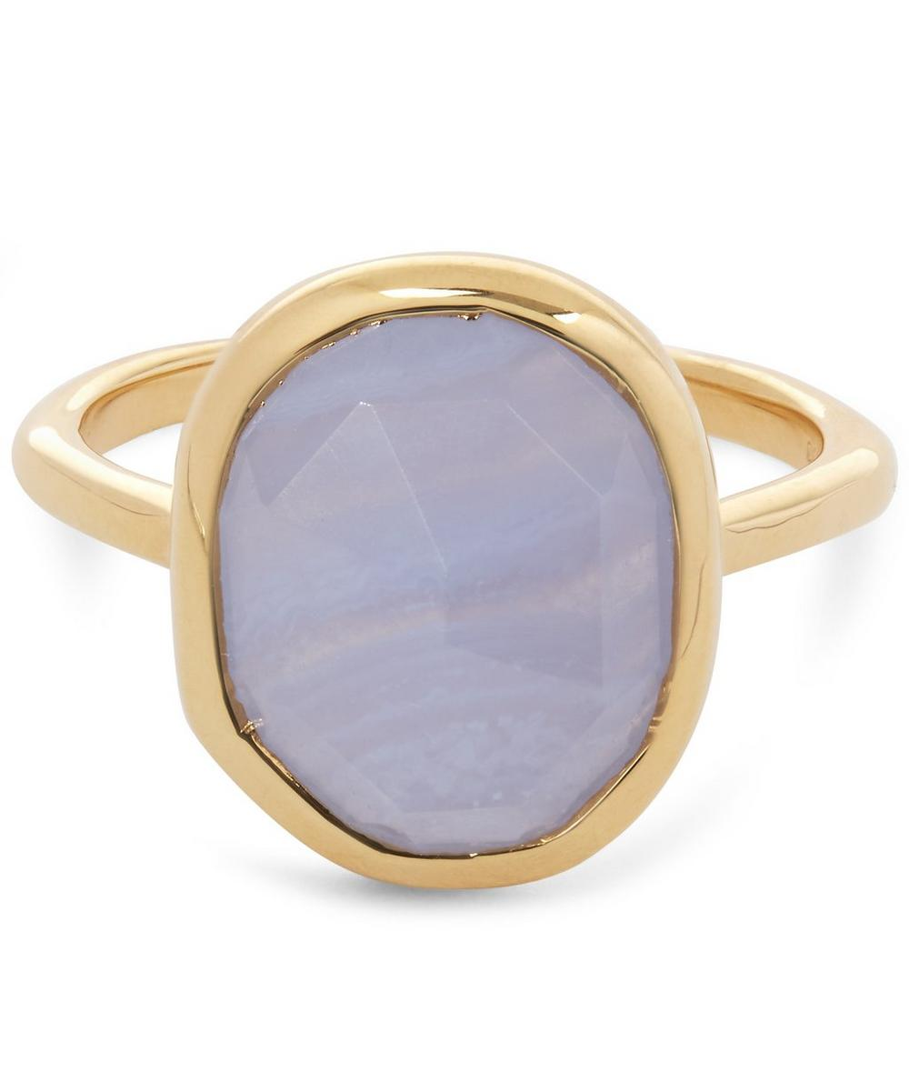 Gold-Plated Blue Lace Agate Medium Siren Stacking Ring