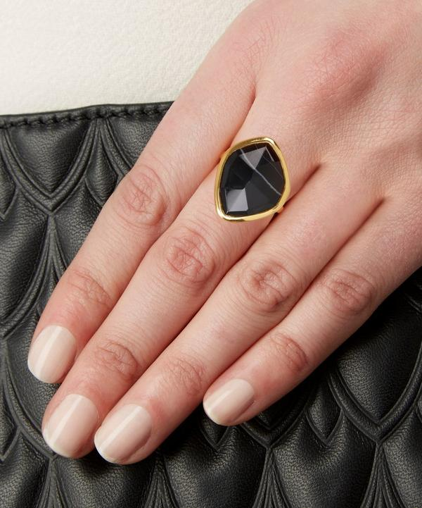 Gold-Plated Black Onyx Siren Nugget Stacking Ring