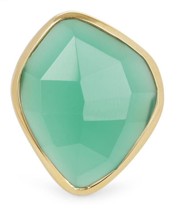 Gold-Plated Green Onyx Siren Nugget Cocktail Ring