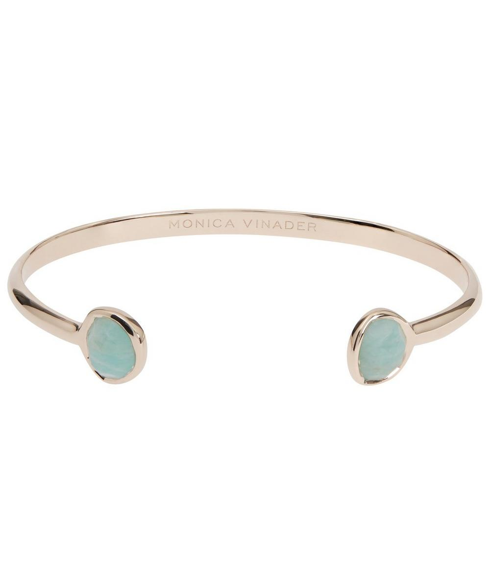 ROSE GOLD-PLATED AMAZONITE SIREN THIN CUFF BRACELET