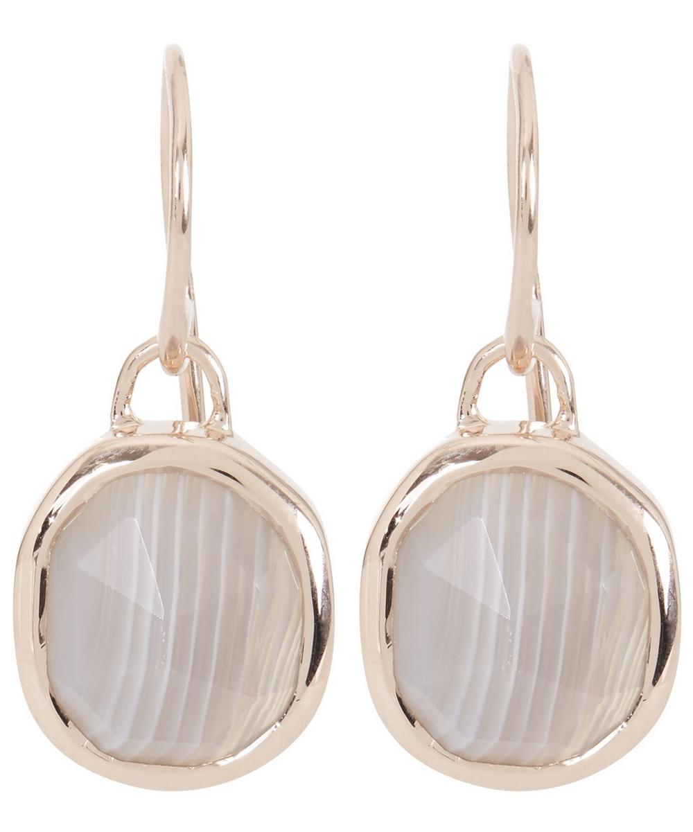 Rose Gold-Plated Grey Agate Siren Wire Earrings