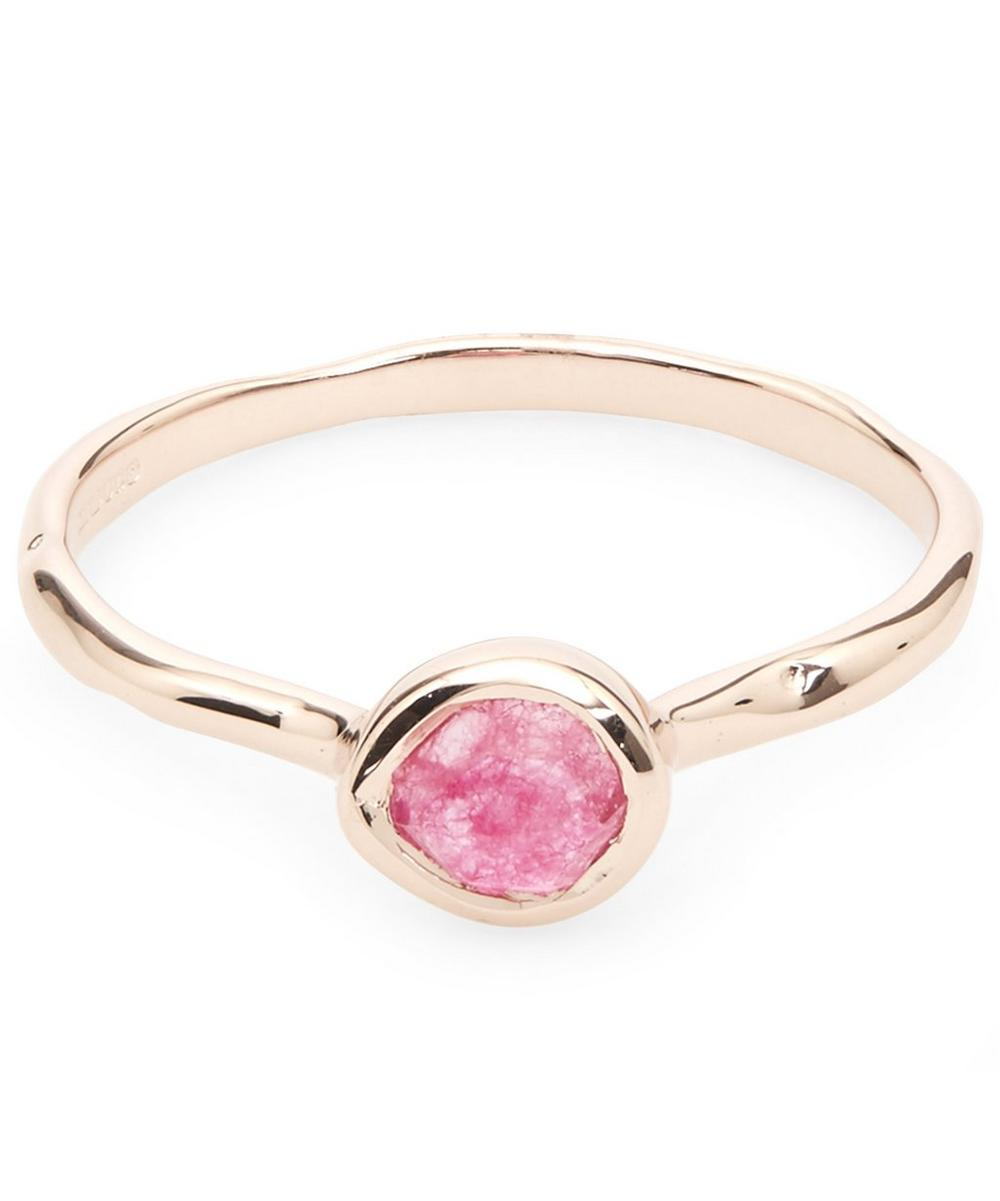 Rose Gold-Plated Pink Quartz Small Siren Stacking Ring