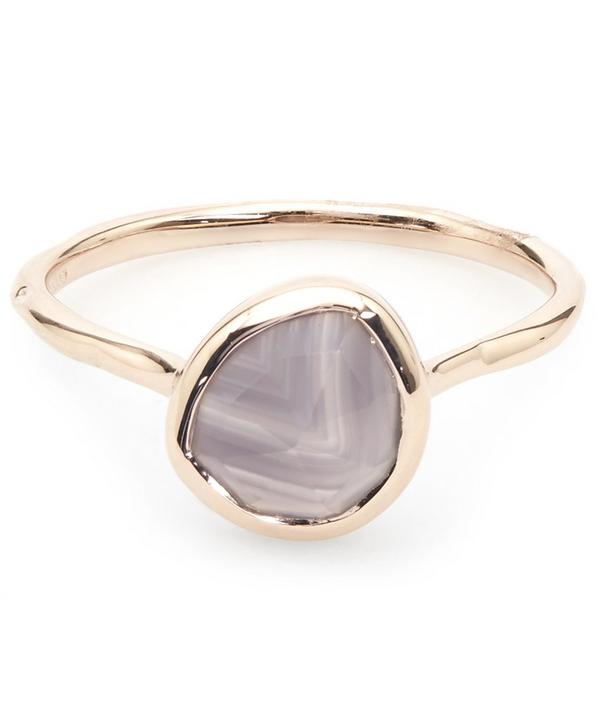 Rose Gold-Plated Grey Agate Siren Stacking Ring