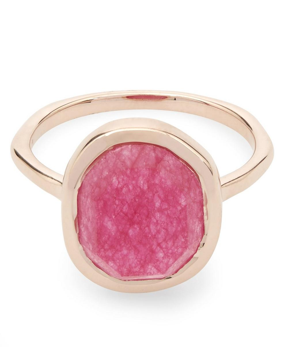 Rose Gold-Plated Pink Quartz Medium Siren Stacking Ring