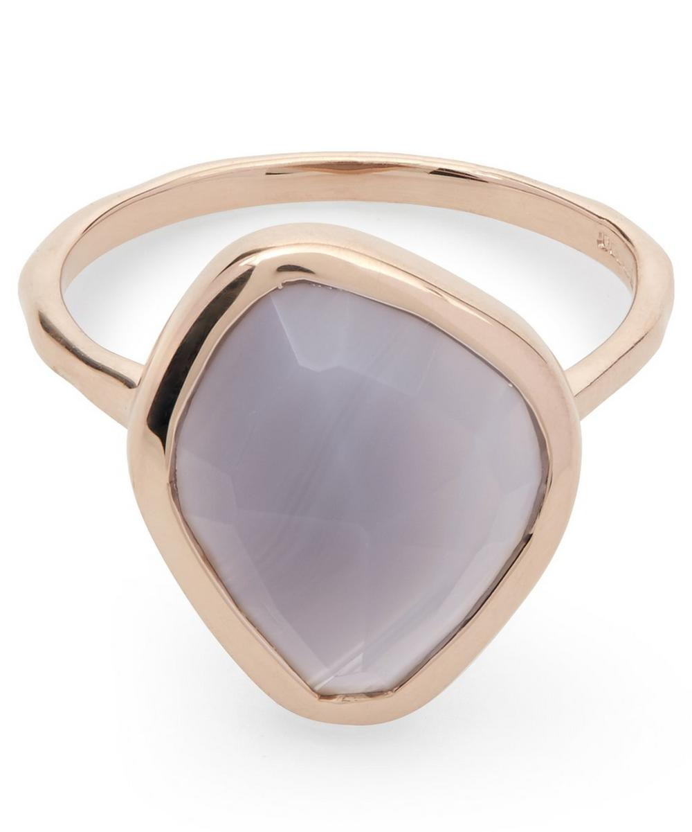 Rose Gold-Plated Siren Nugget Grey Agate Stacking Ring
