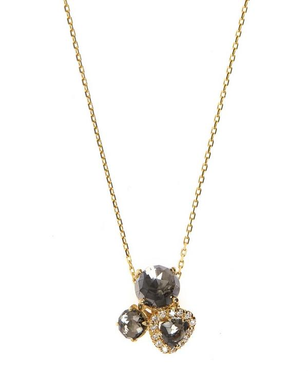 14ct Yellow Gold Black Night Quartz Cluster Necklace