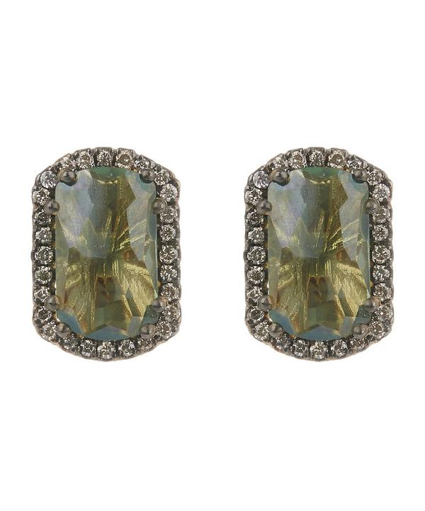 14ct Yellow Gold Green Envy Topaz Barrel Earrings