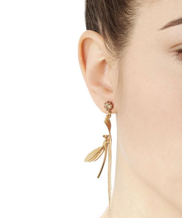 Damselfly and Grassblade Green Amethyst Drop Earrings