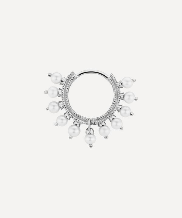 "5/16"" White Gold Pearl Coronet Earring"