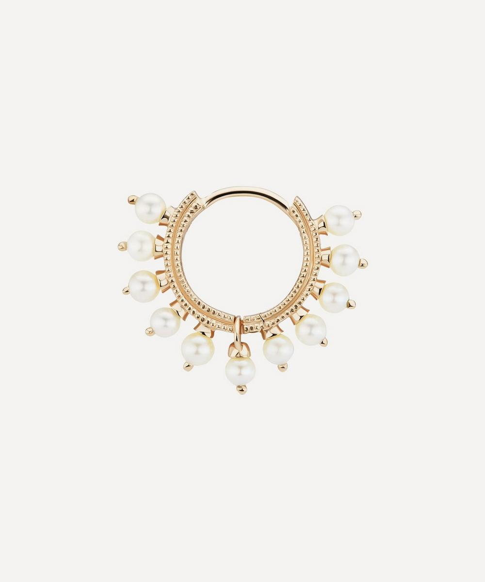 5/16' Pearl Coronet Hoop Earring