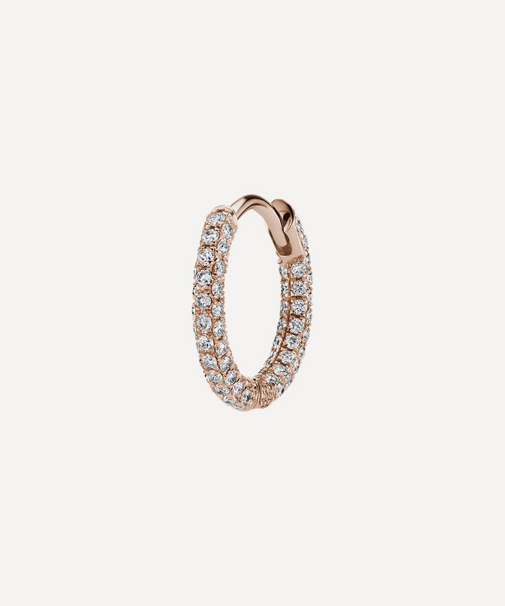 5/16' Diamond Five Row Pave Hoop Earring