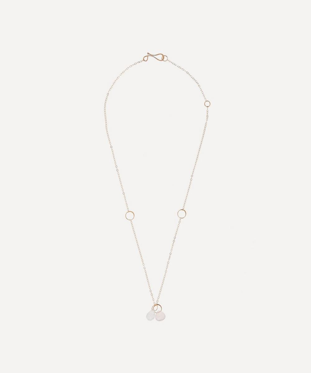 Gold Rainbow Moonstone and Pink Chalcedony Necklace
