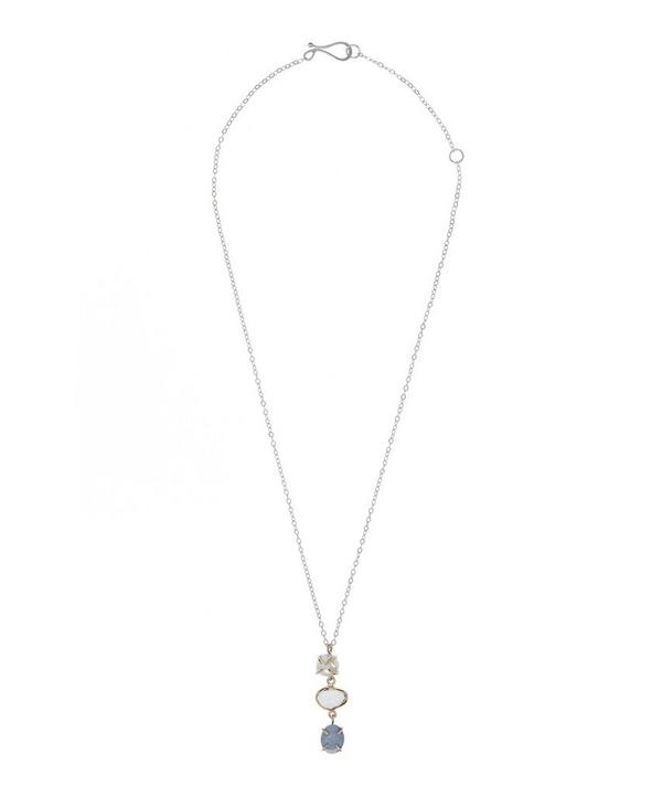 Silver and Gold Three-Stone Drop Necklace
