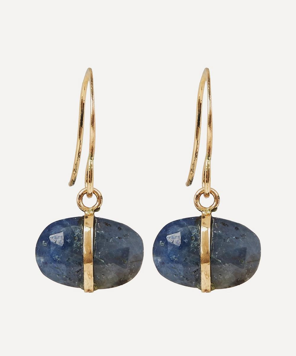 Gold and Blue Sapphire Drop Earrings