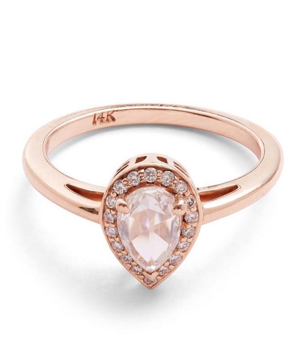 Rose Gold Pear White Diamond Rosette Ring