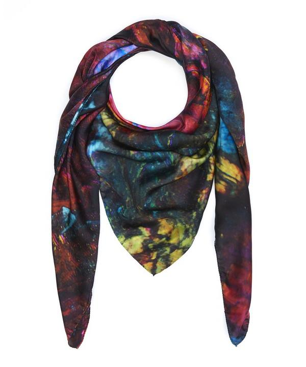 Planet Labradorite Silk Satin Scarf