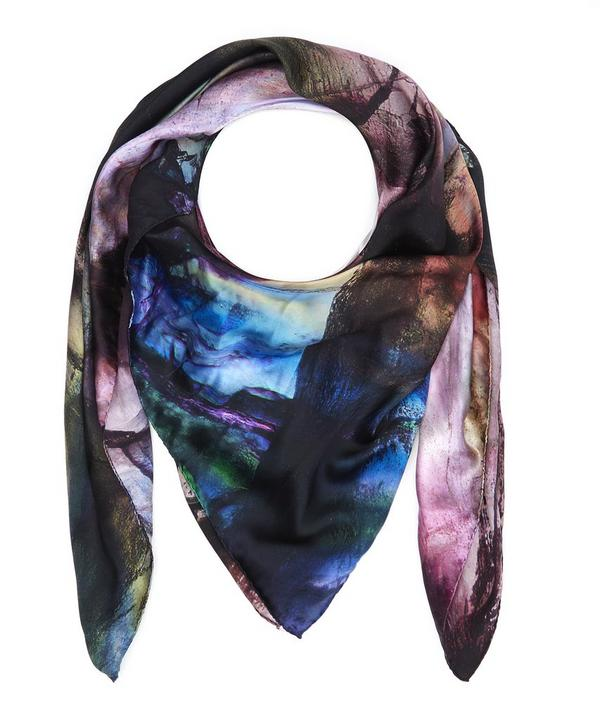 Purple Fluorite Silk Satin Scarf