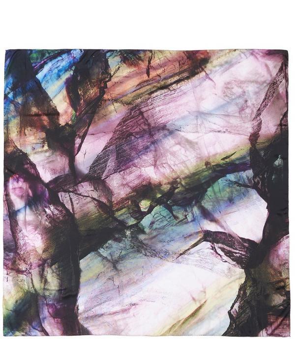 Purple Fluorite Silk Satin Scarf