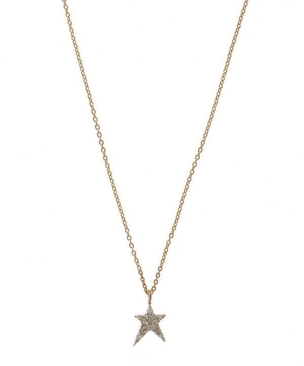 Rose Gold Struck Small Star White Diamond Necklace