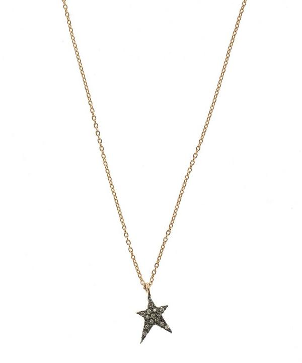 Rose Gold Struck Small Star Champagne Diamond Necklace