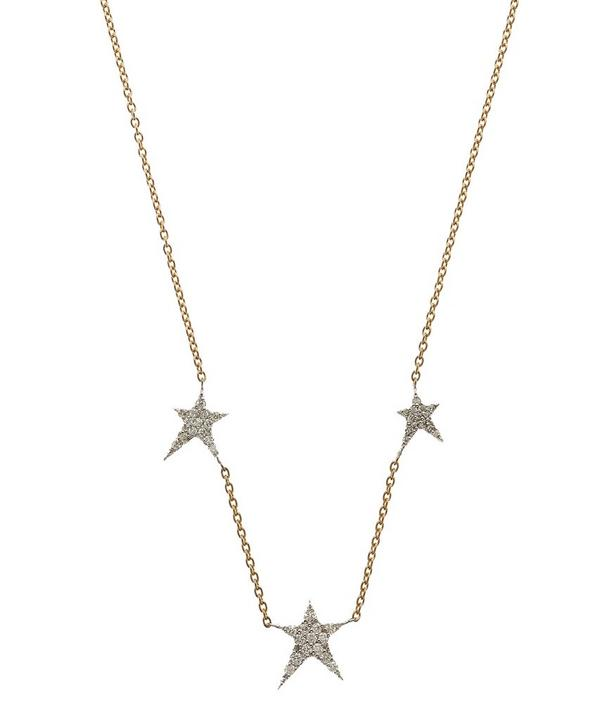 Rose Gold Struck Trio Star White Diamond Necklace