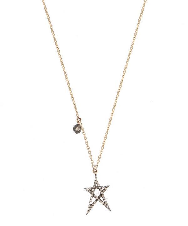 Rose Gold Struck Doodle Star Diamond Solitare Necklace