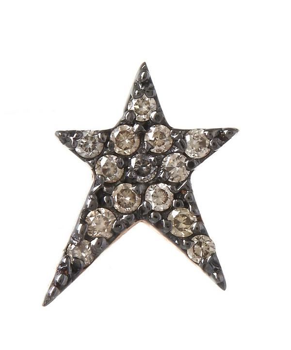 Rose Gold Struck Small Star Diamond Earring