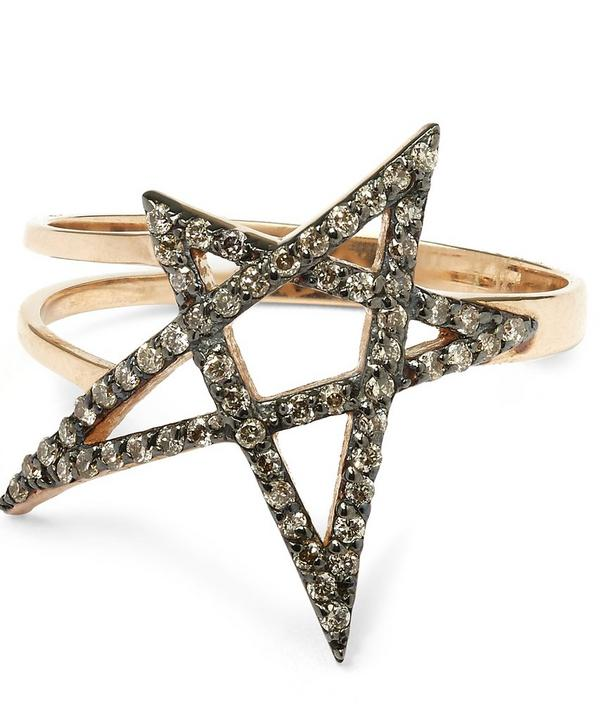 Rose Gold Small Doodle Star Champagne Diamond Ring