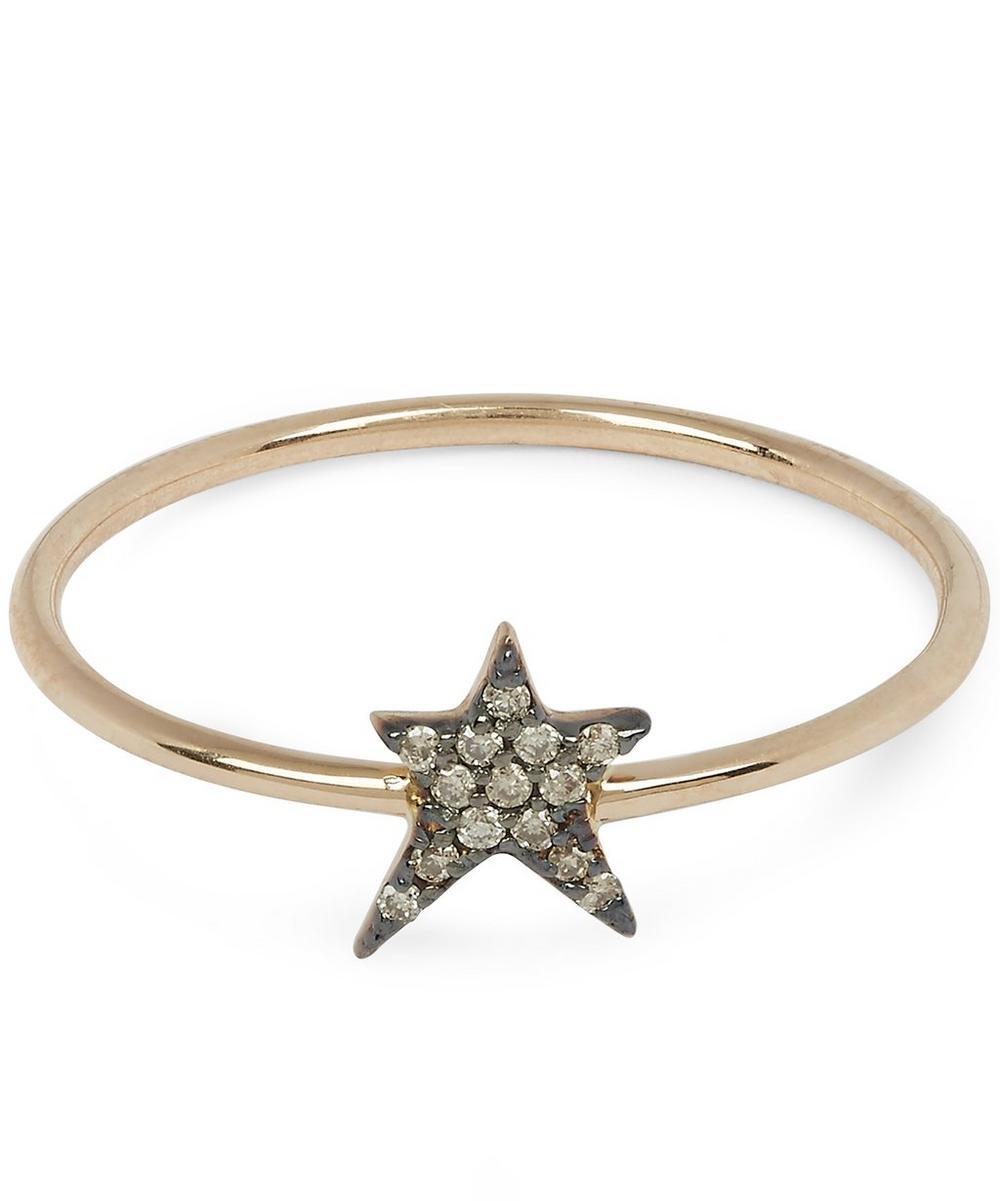 Rose Gold Struck Single Small Star Champagne Diamond Ring
