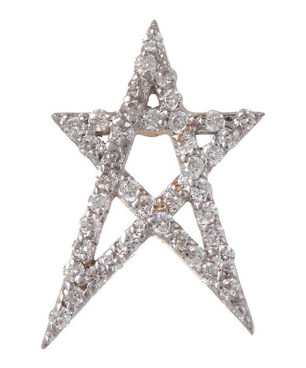 Rose Gold White Diamond Doodle Star Stud Earring