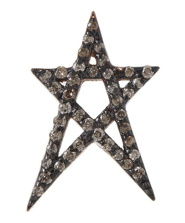 Rose Gold Doodle Star Stud Cognac Diamond Earring