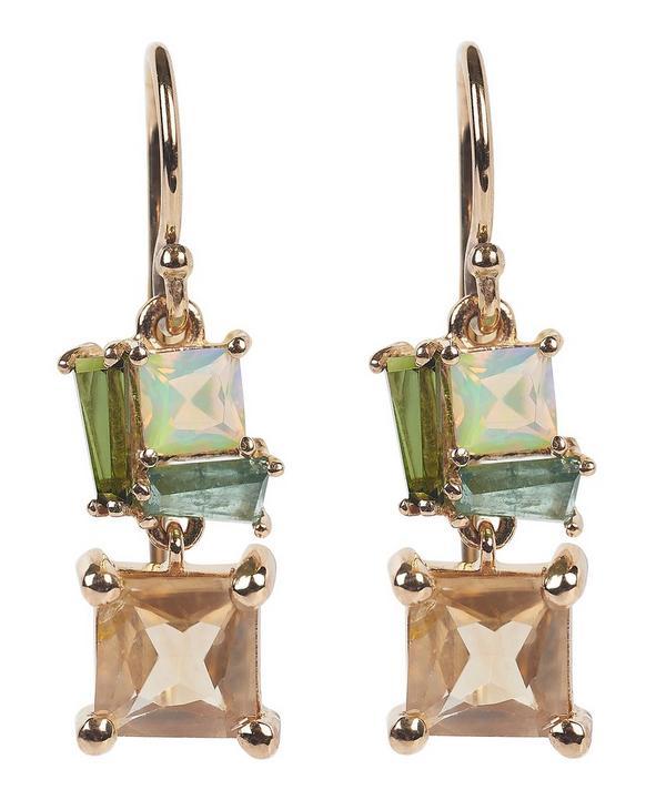 Rose Gold Multi-Stone Drop Earrings
