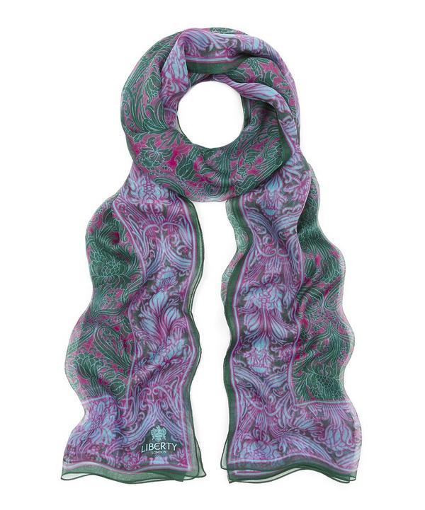 Morris Floral 70x180 Silk Chiffon Scarf