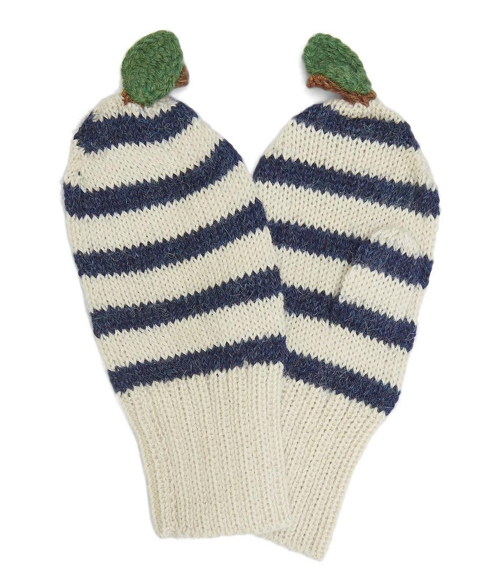 Stripe Apple Knitted Mittens