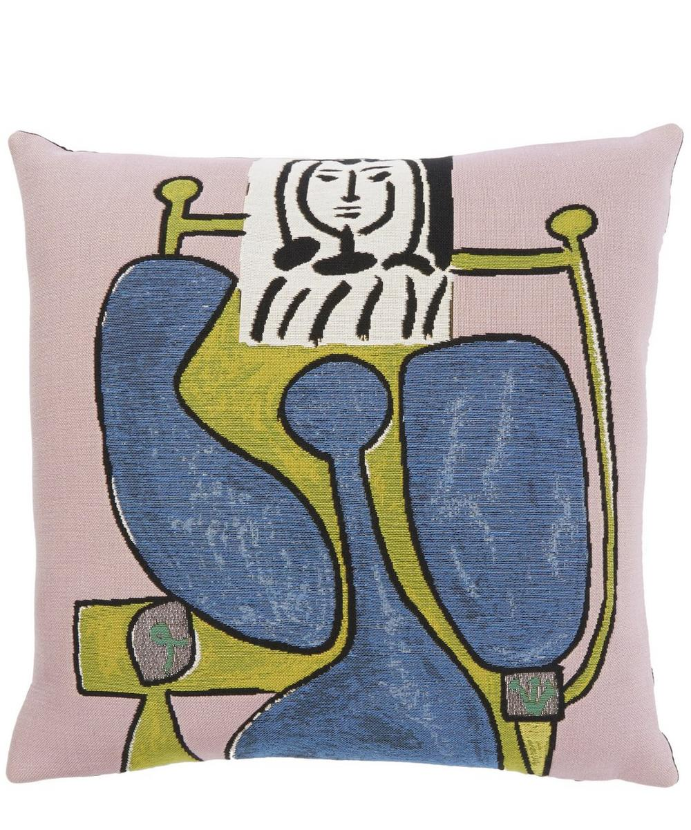 Femme Assise À la Robe Bleue II 1949 Picasso Tapestry Cushion