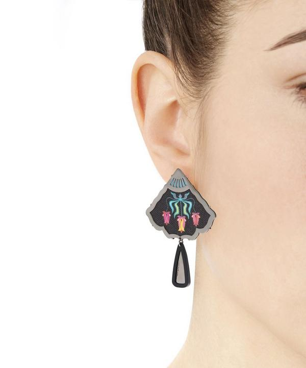 Palladium-Plated Silver Cotton Tulip Painted Earrings