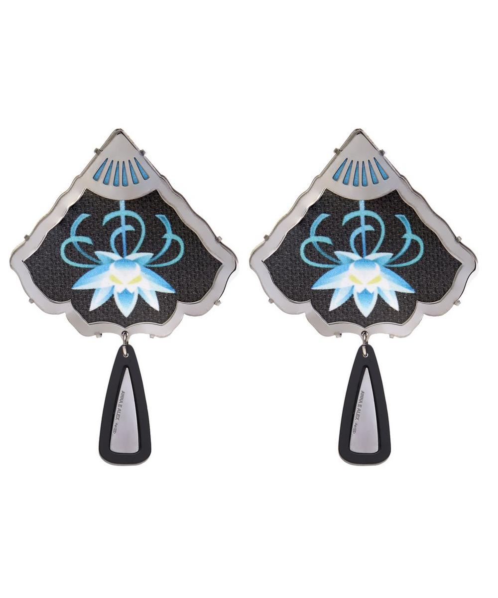 Palladium-Plated Silver Cotton Nymphaea Painted Earrings