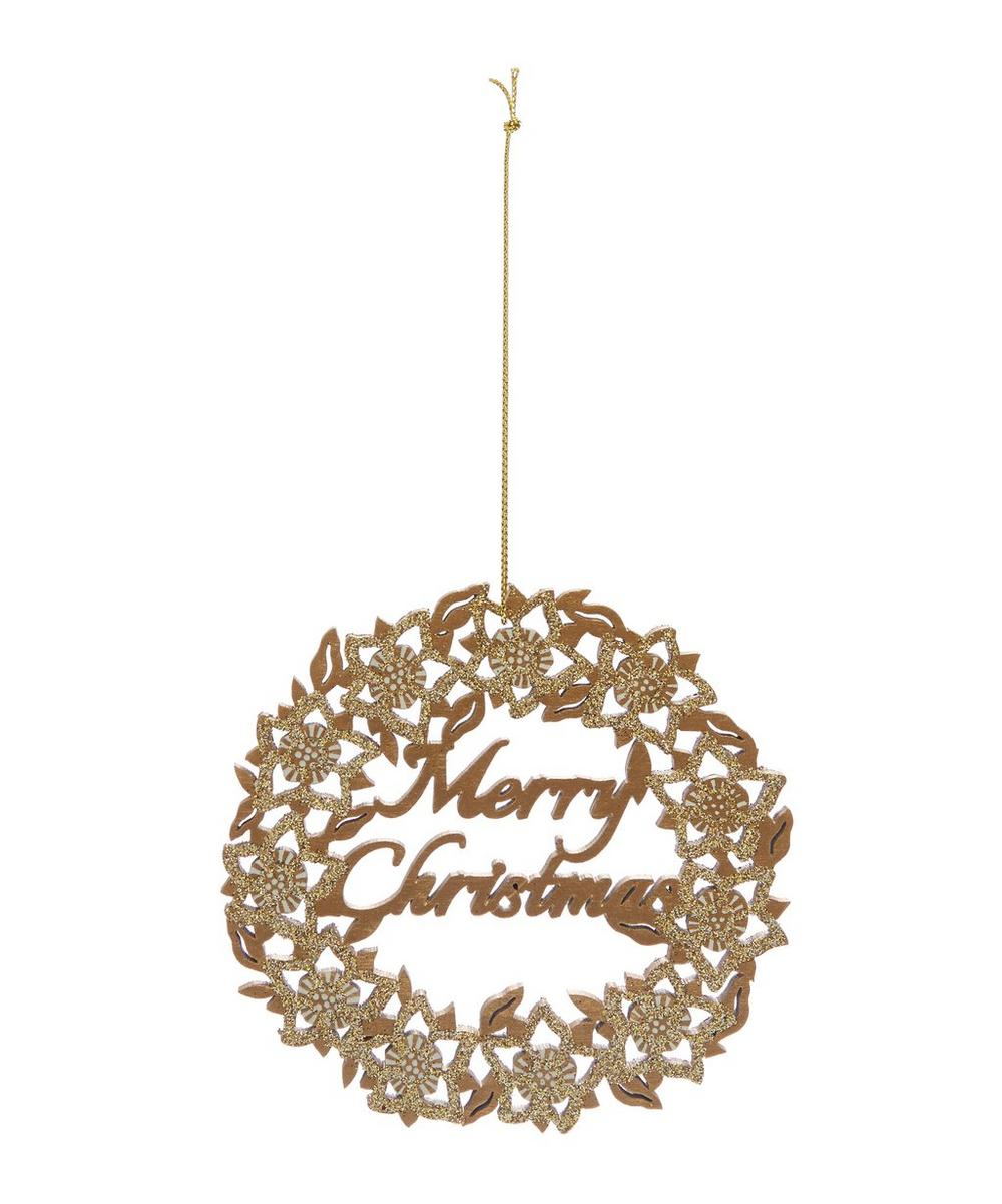 Merry Christmas Wreath Wood Fretwork Bauble.